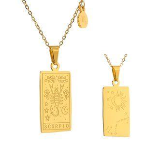 NEW 18K Gold Plated Scorpio Sign Zodiac Tarot Card Square Pendant Ne…